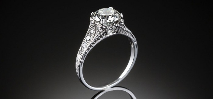 An Art Deco transition cut diamond ring