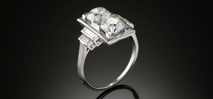 An Art Deco French diamond rectangular plaque ring