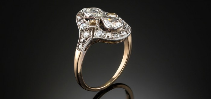 Belle Epoque diamond silver and gold oval plaque ring