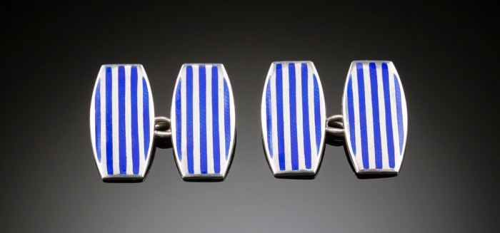 An art deco pair of silver and blue enamel curved oblong cufflinks