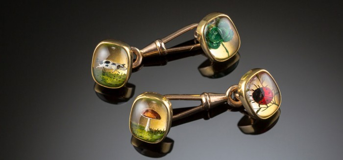 An Edwardian pair of double Essex crystal gold cufflinks