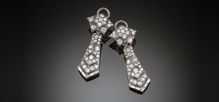 Art Deco diamond and platinum drop earrings