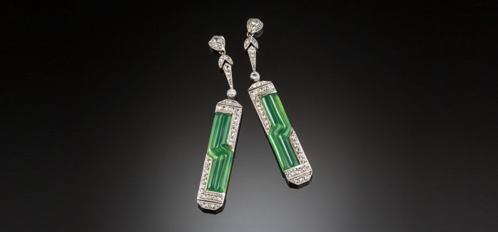 Art deco diamond chrysoprase and platinum pendant earrings