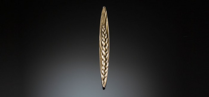 An antique French long silver gilt brooch of a wheat sheaf by Henri-Victor Miault