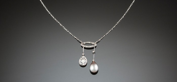 A Belle Epoque  diamond, natural pearl and platinum lavaliere necklace