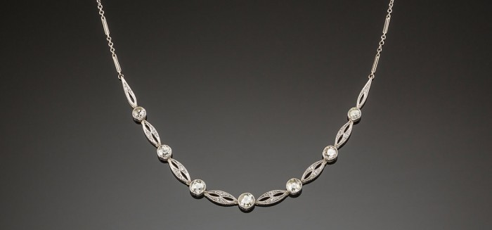 An Art Deco diamond platinum and gold necklace
