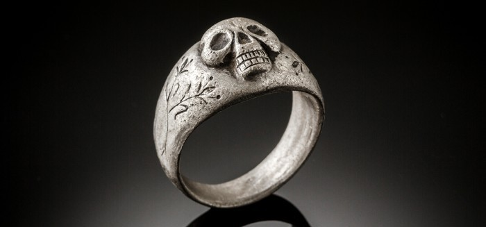 An antique silver skull ring from the 17th -18th century