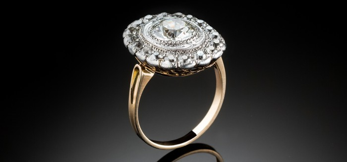 An antique Belle Epoque oval diamond ring