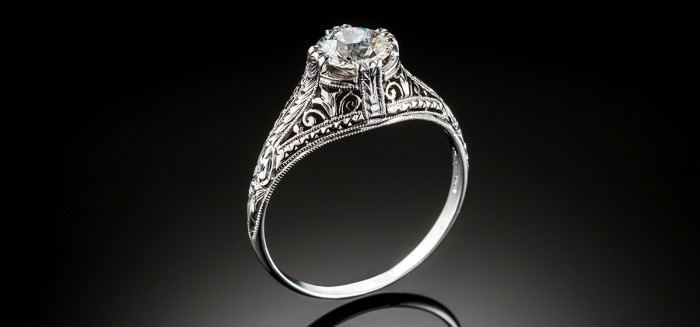 An antique Edwardian platinum and diamond ring