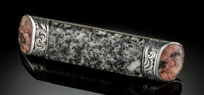 An Antique Scottish hardstone and silver brooch by M. Rettie and sons