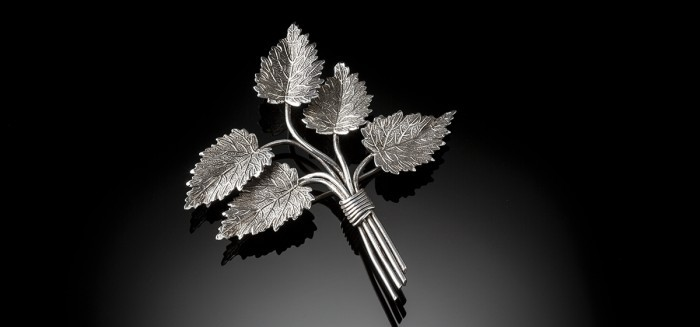 A 1940s large signed silver brooch