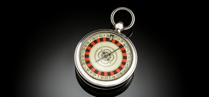 Vintage pocket roulette wheel of pocket watch form