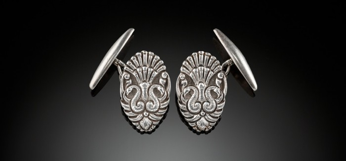 Early Twentieth Century silver peacock cuff links