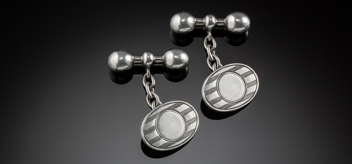 Vintage silver Australian oval cuff links with baton and ball fasteners