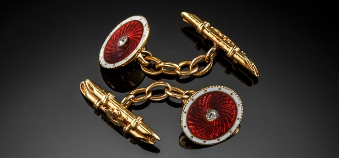 FINE ANTIQUE CUFF LINKS WITH GUILLOCHE ENAMEL AND OLD CUT DIAMONDS SET IN 18CT GOLD IN ORIGINAL BOX
