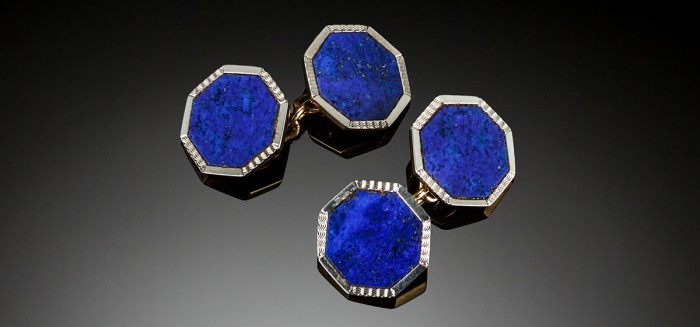 Art Deco lapis lazuli and gold double sided cuff links