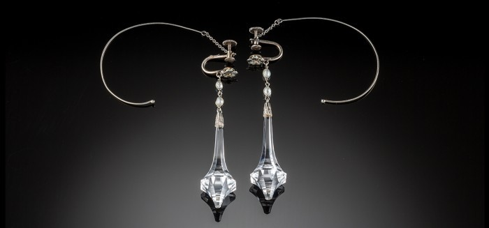 Art Deco elongated drop rock crystal pearl and white gold earrings