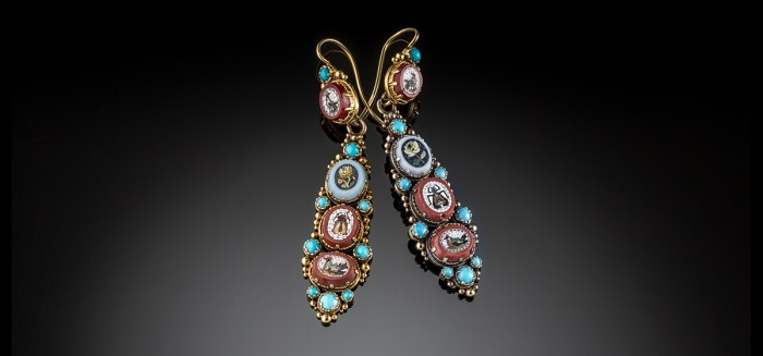 Antique Victorian Micro Mosaic Turquoise and gold pendant earrings