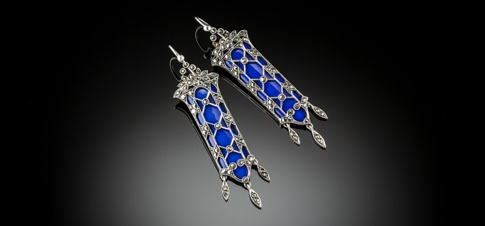 Vintage enamel marcasite and silver pendant earrings