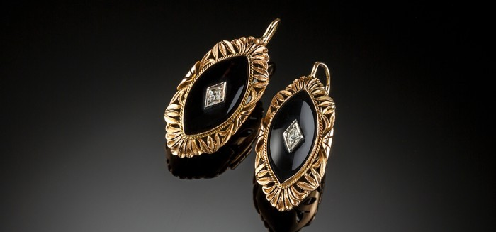 Russian onyx diamond and rose gold ear pendants