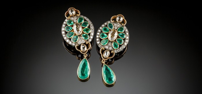 Emerald and diamond pendant earrings,1940s