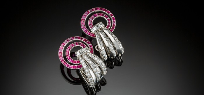 Early Retro ruby diamond and platinum ear cuffs