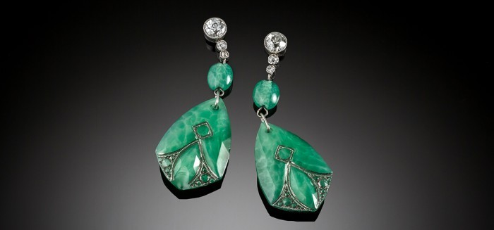 Early Art Deco diamond and green paste platinum set earrings