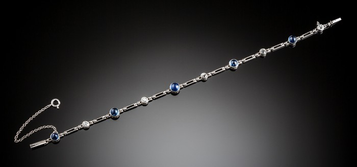 An Art Deco sapphire diamond and platinum bracelet
