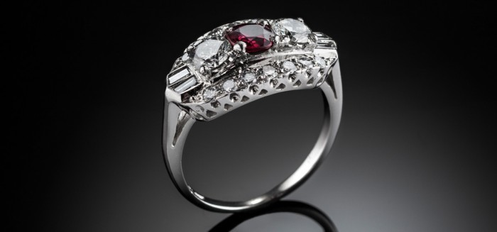 A 1940s platinum/iridium ruby and diamond ring