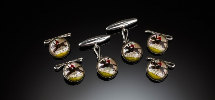 An Antique dinner set of reverse intaglio crystal equestrian cuff links and four buttons / studs