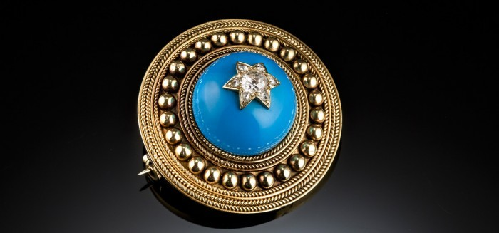 A 22ct gold and diamond Victorian target brooch