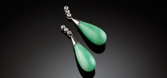 Old cut diamonds, jadeite and 18ct white gold drop earrings