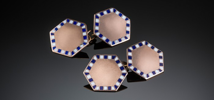 Art Deco hexagonal gold and enamel double face cuff links