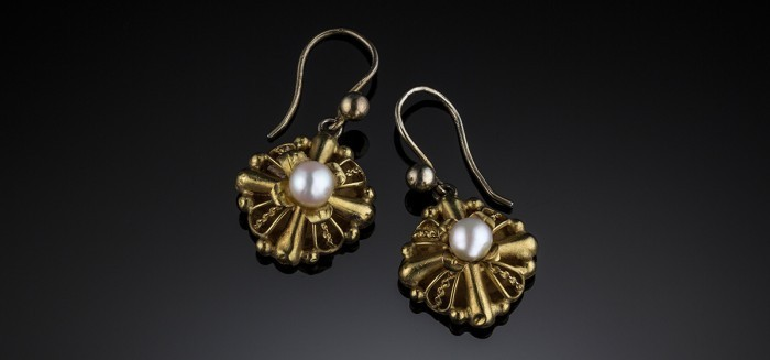 Early twentieth century pearl and 18ct. gold drop earrings