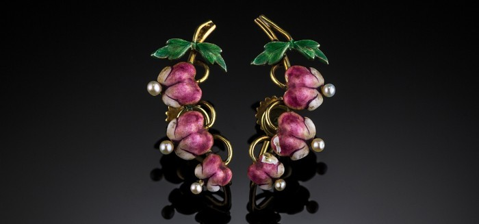 "Art Nouveau pearl enamel and gold ""Bleeding Hearts"" earrings by Krementz & Co"