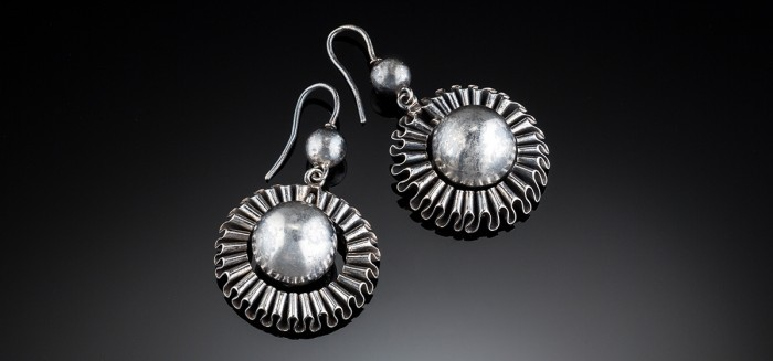 Antique silver drop earrings in a ball and ruffled ribbon border design