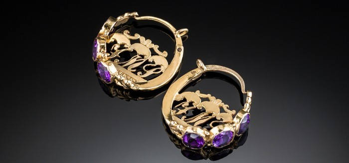 Antique handmade amethyst and gold hoop earrings featuring original owner's initials