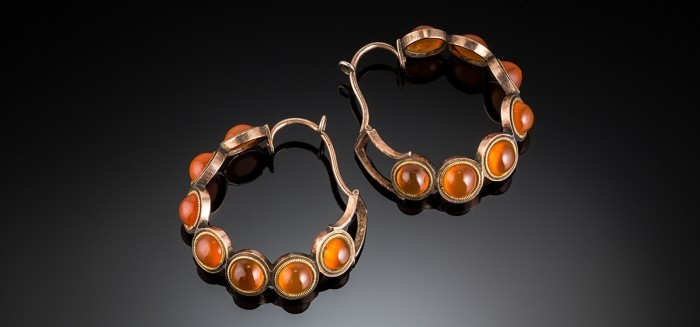 Antique early Victorian orange carnelian and gold hoop earrings