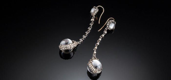 Belle Epoque colourless paste and silver pendant earrings