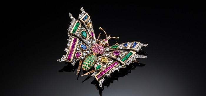 A large Vintage multi-gem set butterfly brooch