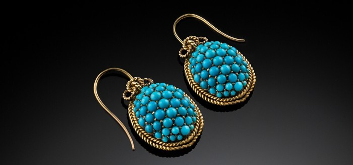 Antique domed turquoise cabochon set gold drop earrings