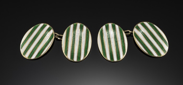 Early twentieth century french green and white striped enamel gold cufflinks