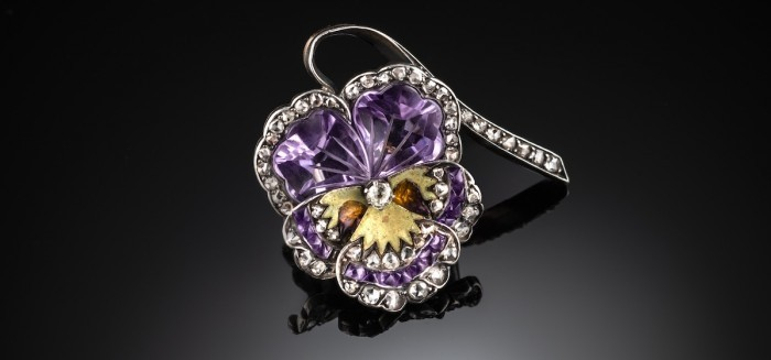Fabulous antique gem and enamels pansy brooch
