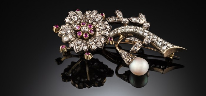 Antique en tremblant diamond, ruby and pearl flower brooch
