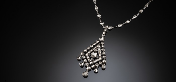 Antique 18th century geometric pendant of old cut diamonds in oxidised silver